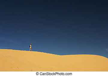 alleen, @, zand, heuvel, 01