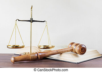Allegory of justice - Symbols of law: wood gavel, soundblock...