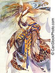 Allegory of Paradise Bird: beautiful background, fashion...