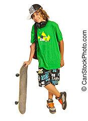 allegro, adolescente, skateboard, scolaro