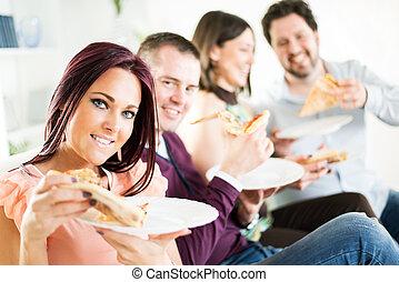 allegro, amici, consumo pizza