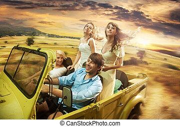 allegro, amici, gruppo, guida, cabriolet