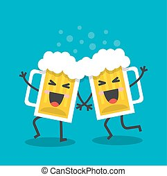 allegro, birra, tazze, felice