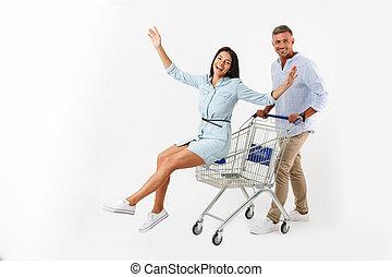 allegro, camminare, shopping, coppia, carrello