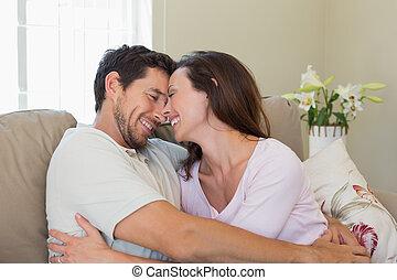 allegro, casa, coppia, amare, divano