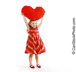 allegro, charmant, poco, riccio, ragazza, in, uno, vestire, presa a terra, uno, cuore