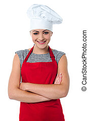 allegro, chef, giovane, femmina