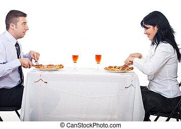 allegro, coppia, consumo pizza