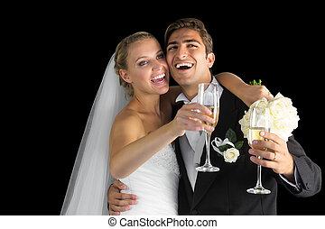 allegro, coppia, sposato, ridere, Felice