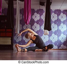allegro, donna, attivo, giovane, yoga, home.