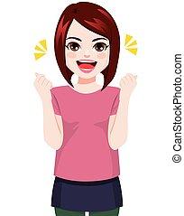 allegro, donna sorridente, giovane, felice