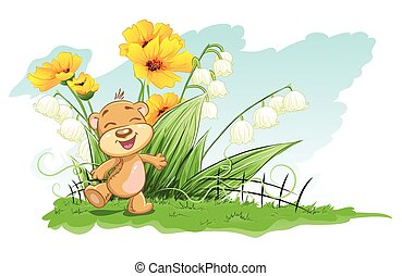 allegro, gigli, fiori, illustrazione, orso