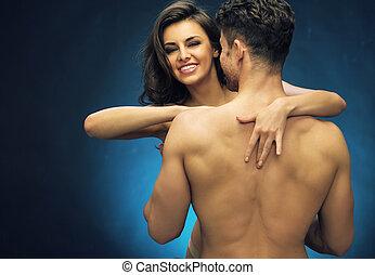 allegro, giovane signora, con, lei, nudo, muscolare, marito