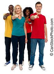 allegro, lei, gruppo, adolescenti, indicare
