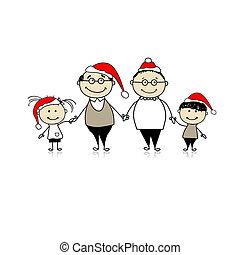 allegro, natale., famiglia felice, insieme, -, nonni, e, nipoti