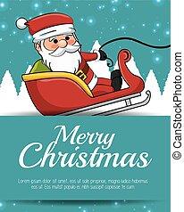 allegro, neve, santa, sleigh, scheda natale