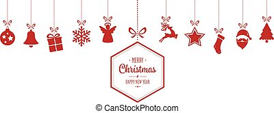 allegro, ornamenti, fondo, appendere, natale, rosso