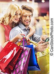 allegro, persone, durante, il, shopping