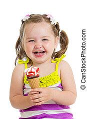 allegro, ragazza bambino, mangiare, gelato, isolato