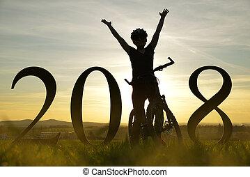 allegro, ragazza, su, uno, bike., concetto, di, il, anno nuovo, 2018.