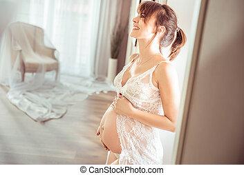 allegro, ritratto, signora, incinta