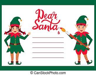allegro, santa, elfi, scrivere, claus, lettera