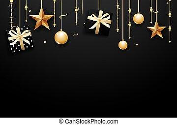 allegro, scatola, oro, regalo, star., scuro, lusso, fondo, anno, nuovo, palla, natale, felice