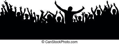 allegro, silhouette, applauso, folla, persone