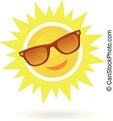 allegro, sorridente, cartone animato, sole, in, occhiali da sole, bianco, fondo.
