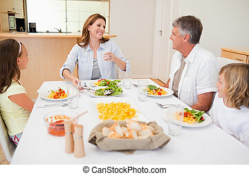 allegro, tavola, cena, famiglia