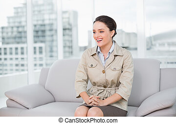 allegro, vestito, donna, bene, seduta