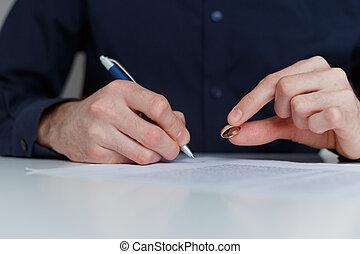 alleine, abkommen, scheidung, ehemann, unterzeichnung