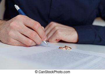 alleine, agreement., scheidung, ehemann, unterzeichnung