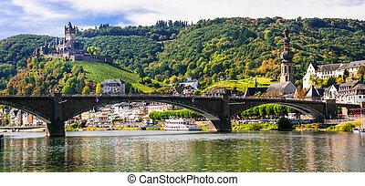 allemagne, cochem, castle., moyen-âge, -, vue, rivière, romantique, pont, rhein, town.
