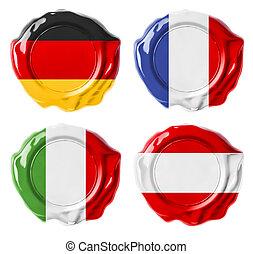 allemagne, france, italie, autriche, drapeau national, cire, cachets, ensemble, isolé, blanc