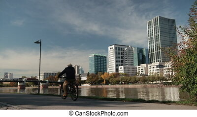 allemagne, panorama, métropole, frankfurt., rivière, gratte-...