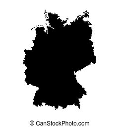 allemagne, silhouette, map.