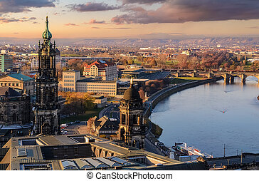 allemagne, ville, panorama, coucher soleil, dresde, horizon