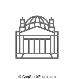 allemand, bâtiment, berlin, repère, reichstag, icon., ligne