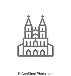 allemand, cathédrale cologne, repère, ligne, icon.