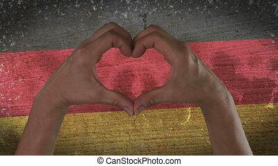 allemand, coeur, symbole, drapeau, mains