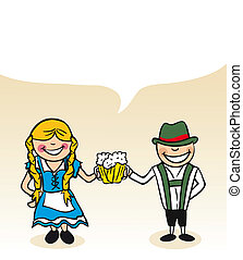 allemand, dessin animé, couple, bulle, dialogue