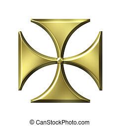 allemand, doré, croix