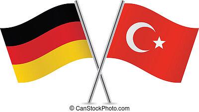 allemand, et, turc, flags.