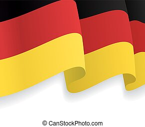allemand, flag., vecteur, onduler, fond