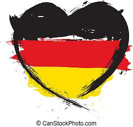 allemand, forme coeur, drapeau