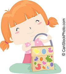 allemand, oeuf, faire, illustration, sac, girl, paques, gosse