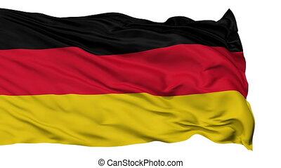 allemand, onduler, drapeau national, isolé