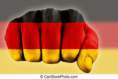 allemand, poing, drapeau