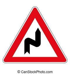 allemand, route, virage, 106, double, signe